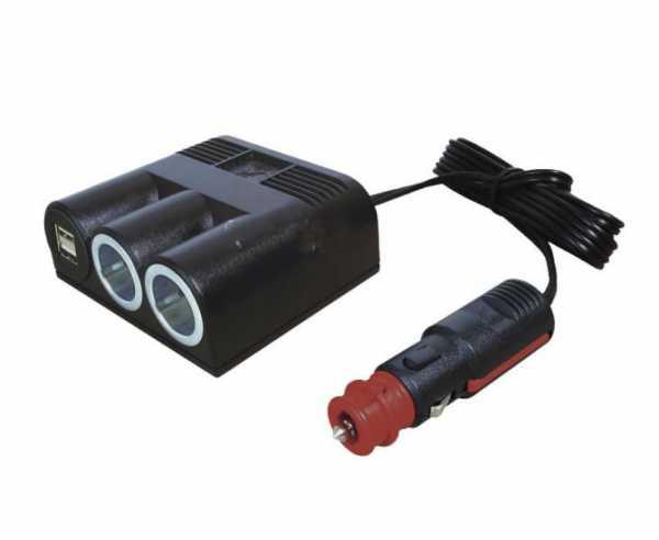Aufbaudose 12V Zigarettenanzünderkabel m. 2xPower-/Doppel-USB-Steckdose