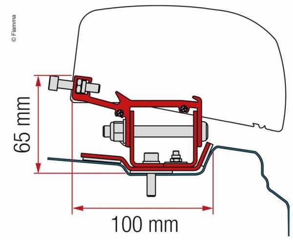 Adapter für Dachmarkise F40van Renault Trafic langer Radstand ab 2014