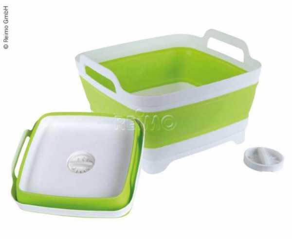 Waschschüssel faltbar, 31,5x30x7/20cm, weiß/lime, mit Ablauf