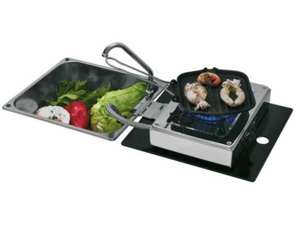Klappbare Kocher-Spülen-Kombination 1-flammig 30mbar mit Wasserhahn