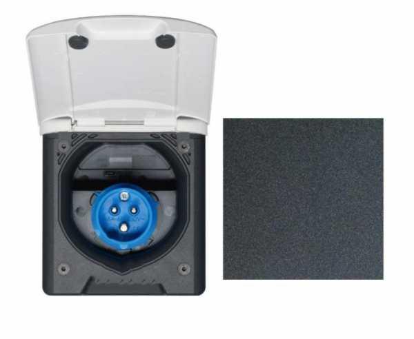 CEE Steckdose mit Magnetverschluss schwarz