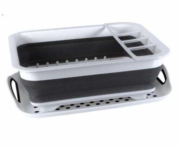 Faltbarer Silikon-Geschirrtrockner 37x31x6/13cm weiß/grau mit Abtropfschale