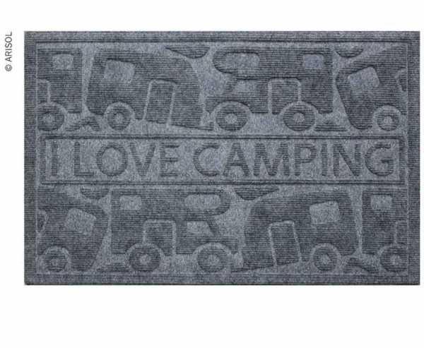 Fussmatte KERA KAMP 40x60cm, grau, PP/Gummi, Motiv: Motorhome/Caravan