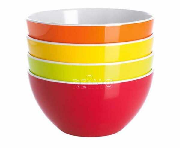 Melamin Müslischalen Set 4-tlg. rot/orange/gelb/limegreen, Gimex
