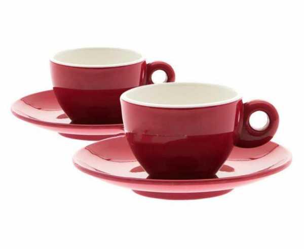 Melamin Espresso-Tassen 4-teiliges Set für 2 Personen, rot, 100ml