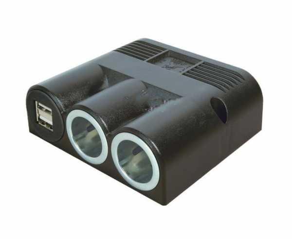 Aufbaudose 12/24V mit 2xPower- u.Doppel-USB-Steckdose