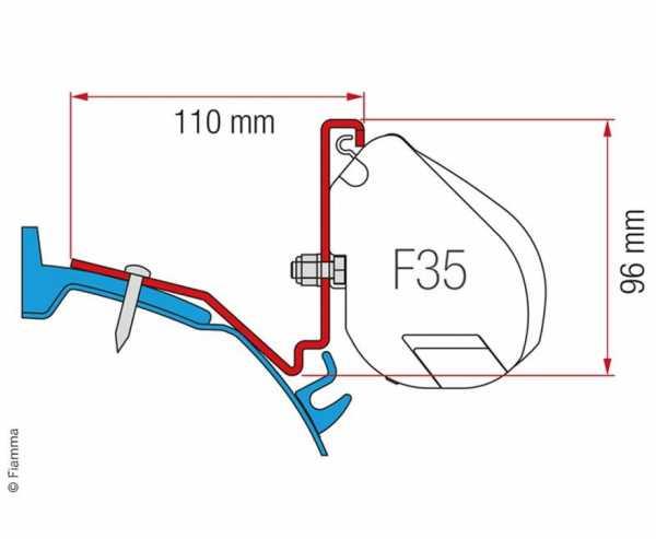 Fiamma Adapter Ford Custom Capland/Capfun für F35