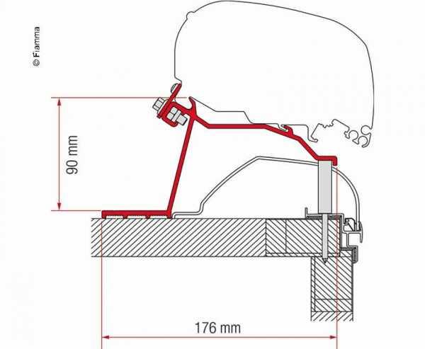 Adapter Fiamma Markise F65L und F80S für Hobby-Caravan ab 2014
