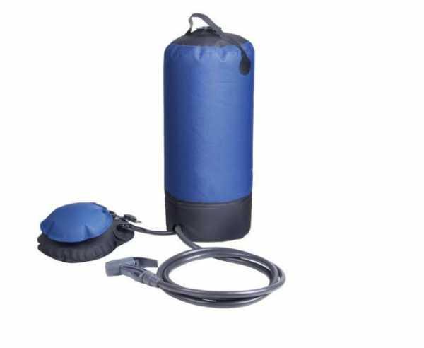 Campingdusche mit 12 l Wassertank inkl. Fußpumpe, Duschkopf, Schlauch