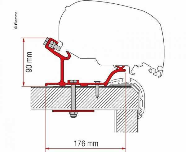 Adapter Markise F65L und F80S für Kit Carthago Malibu 340 cm
