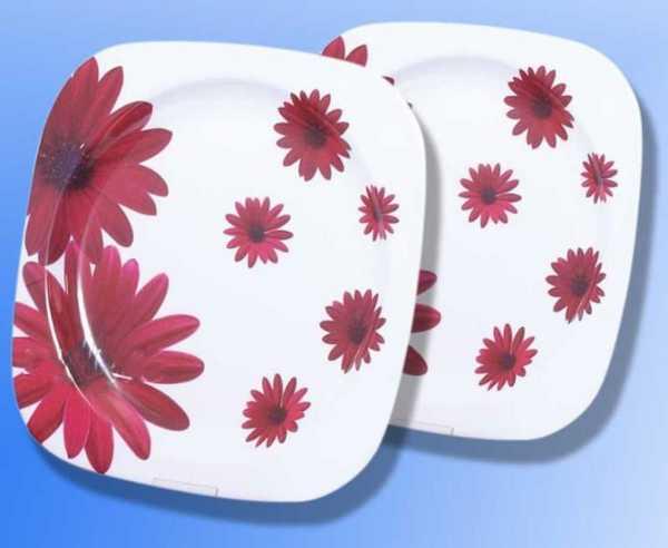 Melamin Teller Set (Ø 22,5cm) Red Flower, 2 Stück