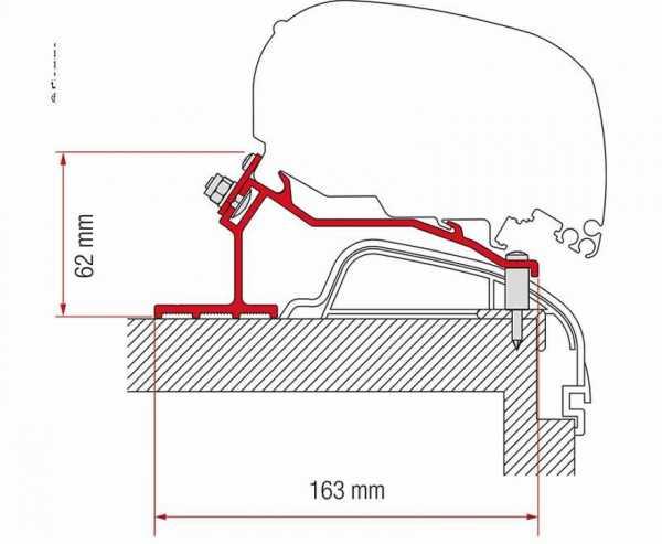 Adapter Markise F65L oder F80S für Hobby Caravan ab 2012 Premium & Ontour