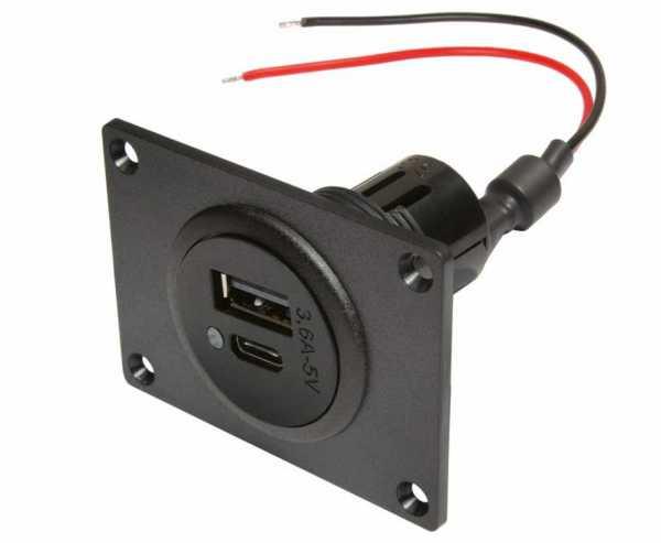 Power USB-C/A Doppelsteckdose mit Montageplatte 12-24V DC