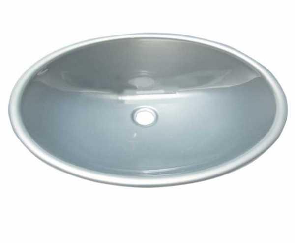 Waschbecken oval Kunststoff 450x335x145mm silberglänzend