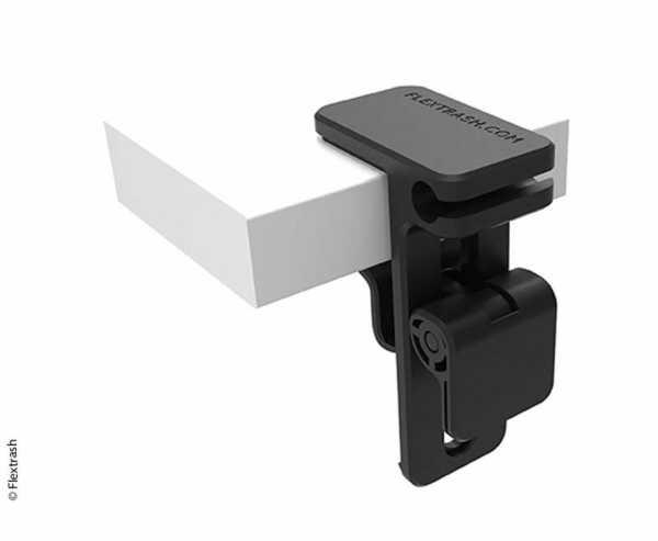 Flextrash Mülleimer Tischhalter black für Tische zw. 0,5 u. 4cm