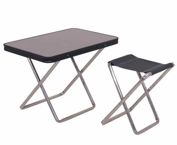 Campinghocker mit Tischplatte, anthrazit