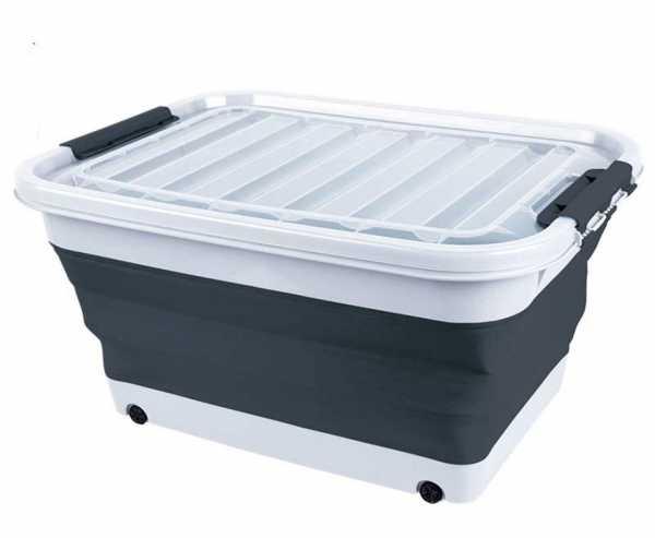 Aufbewahrungsbox 65l faltbar mit Deckel u.Rollen 72 x 53 x 10 / 31cm