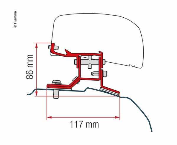 Adapter für Dachmarkise F40van Ford Transit Custom langer Radstand